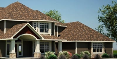 Architectural shingles on a roof in Waukesha.