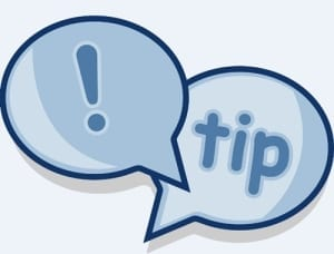 "Two blue speech bubbles with a exclamation mark in one and ""tip"" in the other."