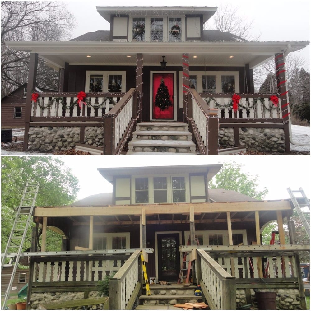 The before image of a house and the image of the house stripped down.