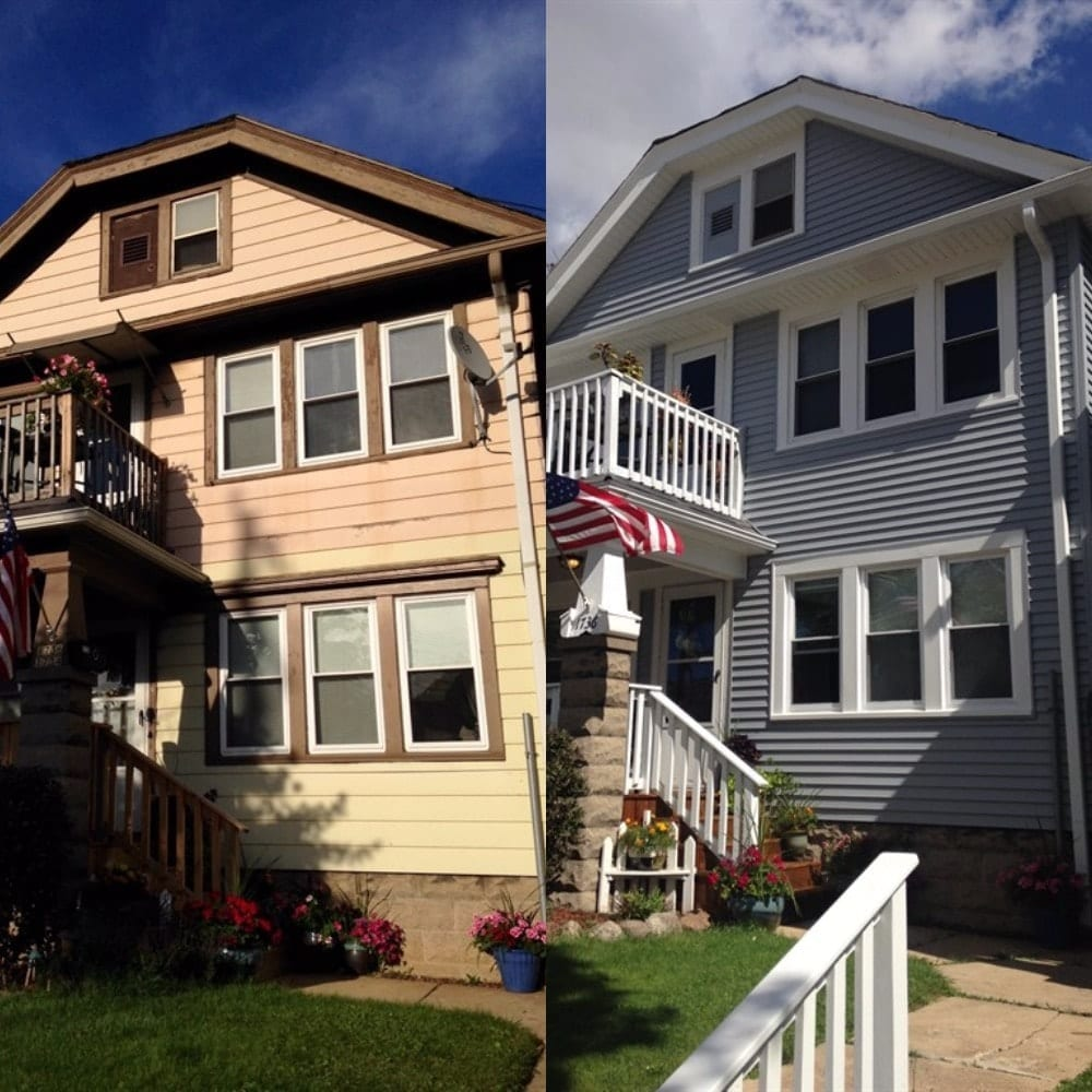 A side by side image of a house with yellow siding and after with blue siding.