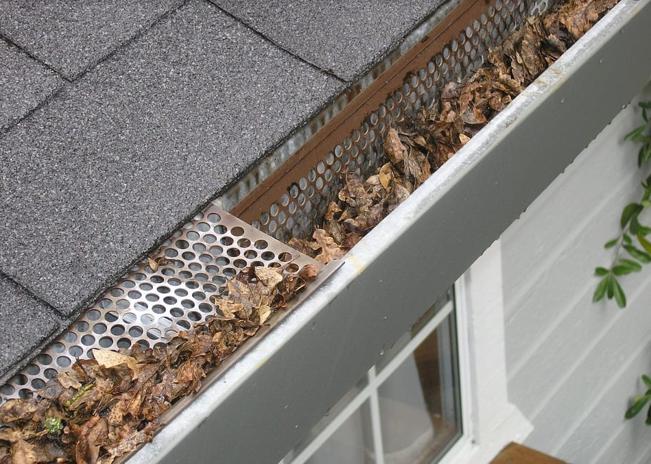 A close up of gutters filled with all leaves.