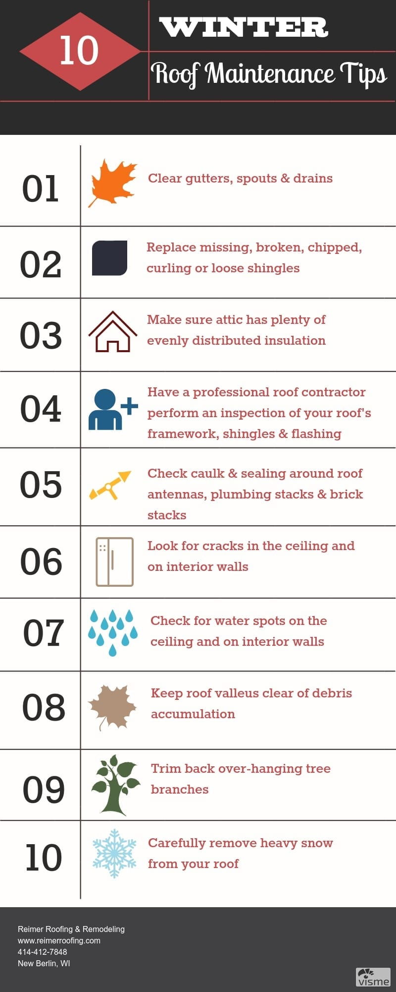 10 Winter Roof Maintenance Tips Infographic.